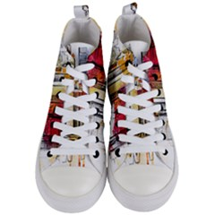 New York City Skyline Vector Illustration Women s Mid Top Canvas Sneakers