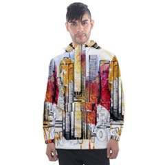 New York City Skyline Vector Illustration Men s Front Pocket Pullover Windbreaker by Sudhe
