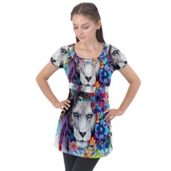 Art Drawing Poster Painting The Lion King Puff Sleeve Tunic Top by Sudhe