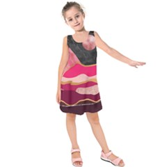 Pink And Black Abstract Mountain Landscape Kids  Sleeveless Dress by charliecreates