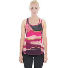 Pink And Black Abstract Mountain Landscape Piece Up Tank Top by charliecreates