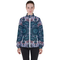 Marbels Glass And Paint Love Mandala Decorative Women s High Neck Windbreaker by pepitasart
