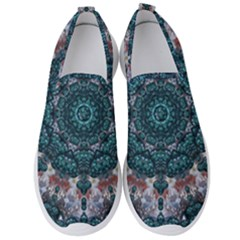 Marbels Glass And Paint Love Mandala Decorative Men s Slip On Sneakers by pepitasart