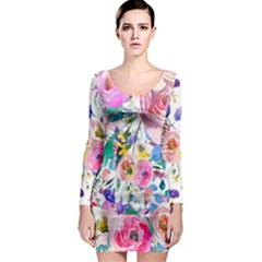 Lovely Pinky Floral Long Sleeve Bodycon Dress by wowclothings