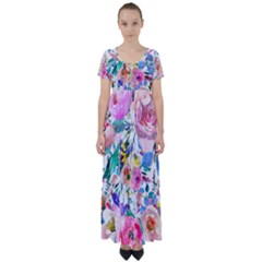 Lovely Pinky Floral High Waist Short Sleeve Maxi Dress by wowclothings