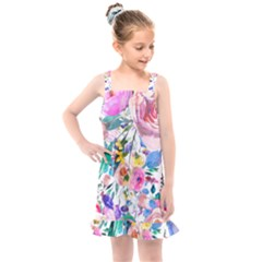 Lovely Pinky Floral Kids  Overall Dress