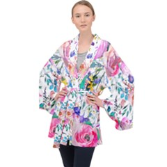 Lovely Pinky Floral Velvet Kimono Robe by wowclothings
