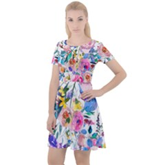 Lovely Pinky Floral Cap Sleeve Velour Dress  by wowclothings