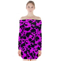Black And Pink Leopard Style Paint Splash Funny Pattern Long Sleeve Off Shoulder Dress by yoursparklingshop