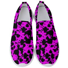 Black And Pink Leopard Style Paint Splash Funny Pattern Men s Slip On Sneakers by yoursparklingshop