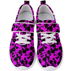 Black And Pink Leopard Style Paint Splash Funny Pattern Men s Velcro Strap Shoes by yoursparklingshop