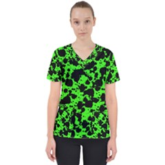Black And Green Leopard Style Paint Splash Funny Pattern Women s V-neck Scrub Top by yoursparklingshop