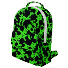 Black And Green Leopard Style Paint Splash Funny Pattern Flap Pocket Backpack (small) by yoursparklingshop