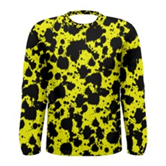 Black And Yellow Leopard Style Paint Splash Funny Pattern  Men s Long Sleeve Tee by yoursparklingshop