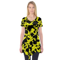 Black And Yellow Leopard Style Paint Splash Funny Pattern  Short Sleeve Tunic  by yoursparklingshop