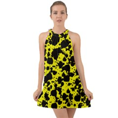 Black And Yellow Leopard Style Paint Splash Funny Pattern  Halter Tie Back Chiffon Dress by yoursparklingshop