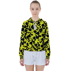 Black And Yellow Leopard Style Paint Splash Funny Pattern  Women s Tie Up Sweat by yoursparklingshop