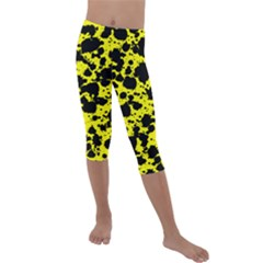 Black And Yellow Leopard Style Paint Splash Funny Pattern  Kids  Lightweight Velour Capri Leggings  by yoursparklingshop