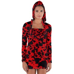 Black And Red Leopard Style Paint Splash Funny Pattern Long Sleeve Hooded T-shirt by yoursparklingshop
