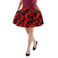 Black And Red Leopard Style Paint Splash Funny Pattern A-line Pocket Skirt by yoursparklingshop