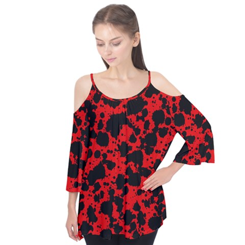 Black And Red Leopard Style Paint Splash Funny Pattern Flutter Tees by yoursparklingshop