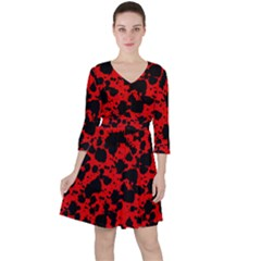 Black And Red Leopard Style Paint Splash Funny Pattern Ruffle Dress by yoursparklingshop
