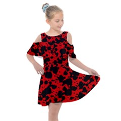 Black And Red Leopard Style Paint Splash Funny Pattern Kids  Shoulder Cutout Chiffon Dress by yoursparklingshop