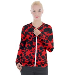 Black And Red Leopard Style Paint Splash Funny Pattern Casual Zip Up Jacket