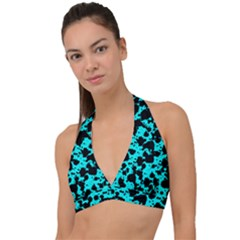 Bright Turquoise And Black Leopard Style Paint Splash Funny Pattern Halter Plunge Bikini Top by yoursparklingshop