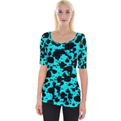 Bright Turquoise And Black Leopard Style Paint Splash Funny Pattern Wide Neckline Tee by yoursparklingshop