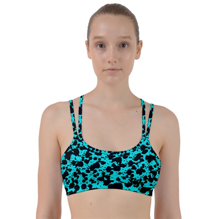 Bright Turquoise and Black Leopard Style Paint Splash Funny Pattern Line Them Up Sports Bra