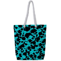 Bright Turquoise And Black Leopard Style Paint Splash Funny Pattern Full Print Rope Handle Tote (small)