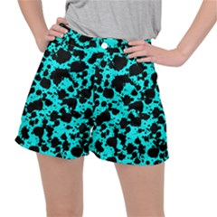 Bright Turquoise And Black Leopard Style Paint Splash Funny Pattern Stretch Ripstop Shorts by yoursparklingshop