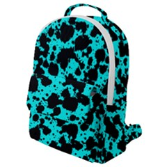 Bright Turquoise And Black Leopard Style Paint Splash Funny Pattern Flap Pocket Backpack (small) by yoursparklingshop