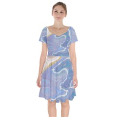 Agate Marble Short Sleeve Bardot Dress by tarastyle