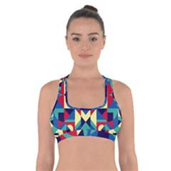 Modern Geometric Pattern Cross Back Sports Bra by tarastyle
