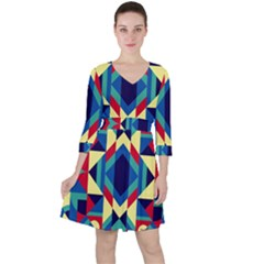 Modern Geometric Pattern Ruffle Dress