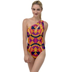 Modern Geometric Pattern To One Side Swimsuit by tarastyle