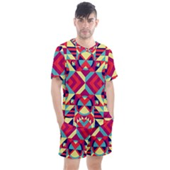 Modern Geometric Pattern Men s Mesh Tee And Shorts Set by tarastyle