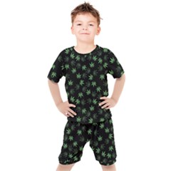 Weed Pattern Kids  Tee And Shorts Set by Valentinaart