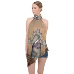 Funny Cartoon Elephant Halter Asymmetric Satin Top by FantasyWorld7