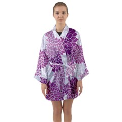 Purple Dahlias Design Long Sleeve Kimono Robe by WensdaiAmbrose