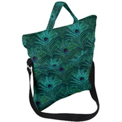 Peacock Glitter Feather Pattern Fold Over Handle Tote Bag by tarastyle