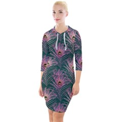 Peacock Glitter Feather Pattern Quarter Sleeve Hood Bodycon Dress by tarastyle