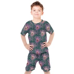 Peacock Glitter Feather Pattern Kids  Tee And Shorts Set by tarastyle