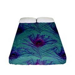 Peacock Glitter Feather Pattern Fitted Sheet (full/ Double Size) by tarastyle