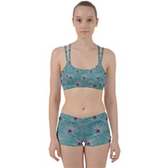 Peacock Glitter Feather Pattern Perfect Fit Gym Set by tarastyle
