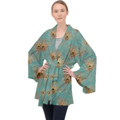 Peacock Glitter Feather Pattern Velvet Kimono Robe by tarastyle