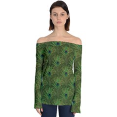 Peacock Glitter Feather Pattern Off Shoulder Long Sleeve Top by tarastyle