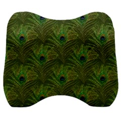 Peacock Glitter Feather Pattern Velour Head Support Cushion by tarastyle